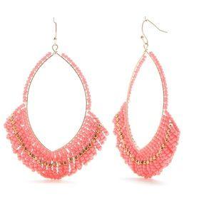 Crown & Ivy Beaded Hoop Earrings NWT Gold/Pink